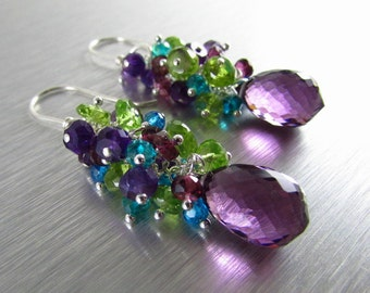 Colorful Gemstone Earrings - Peridot, Amethyst, Garnet and Quartz With Sterling Silver