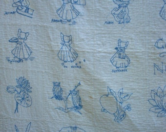 Vintage Blue Work Penny Quilt Antique Hand Embroidered