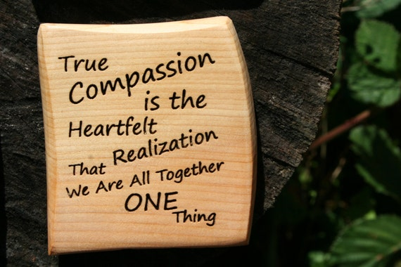 Refrigerator Magnet- Compassion Magnet- Wooden Refrigerator Magnet In Juniper Wood or Oregon Myrtlewood