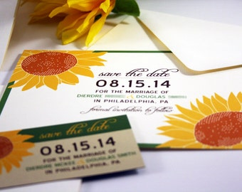 NEW Wedding Save the Date Sample Giant Sunflower Pocketfold, Rustic, Modern, Invitation, RSVP, Thank You, Gold Yellow Brown Green