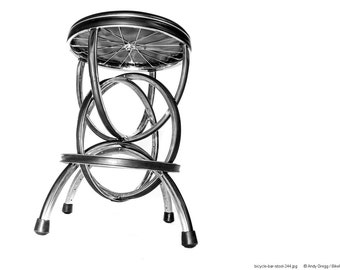 Bicycle Wheel Barstool - S-2 Bike Furniture Design