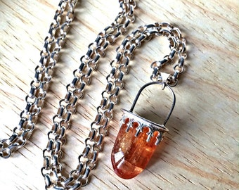 Imperial Topaz Necklace Metalwork Sterling Silver Raw Crystal Gemstone Tabular Pendant Natural Stone November Birthstone Layering Necklace