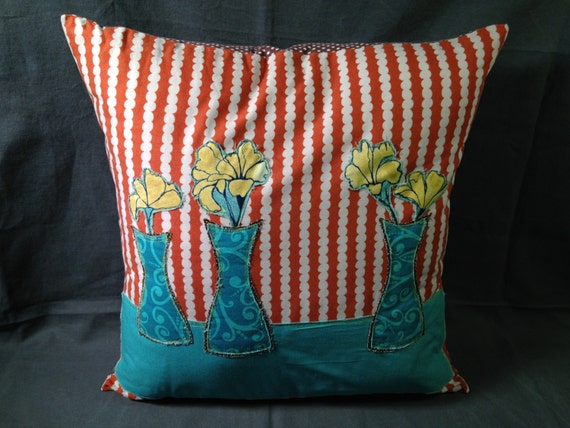 Floral Throw Pillow in Orange and Blue by monicahowie on Etsy