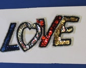 LOVE Bead and Sequin Applique Patch Sewing Craft Supply