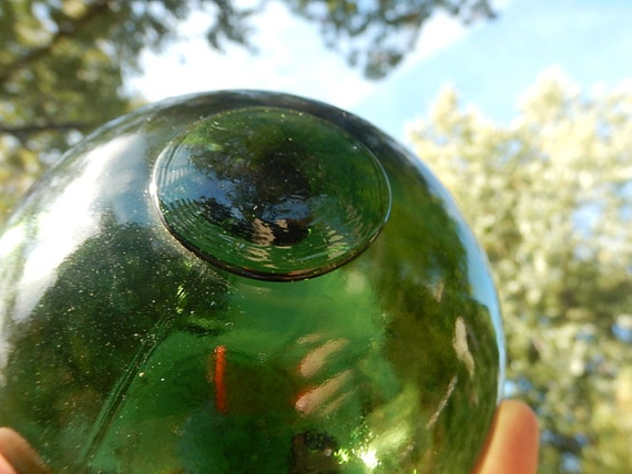 Mouth-Blown / Handmade European Glass Float with oliver green color 5 inches in diameter / Christmas gift for your beach lovers