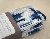 Crocheted Dish Cloths, Wash Cloths, Cotton -  Blue and Grey