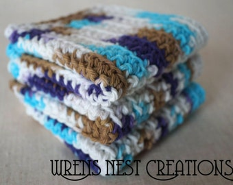 Cotton Dishcloths, Crochet. Blue, Dark Purple, and Brown. 3 pc Set.