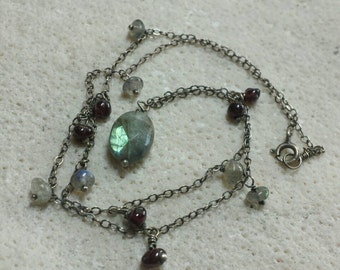 Labradorite and Garnet Drop Necklace - Gemstone and Sterling Silver 16 inches - Handmade
