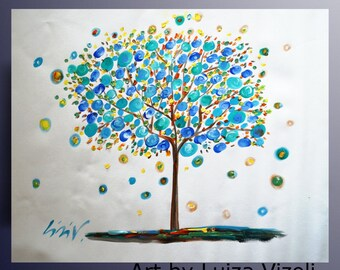 Abstract Tree Painting Original Hand Painted Art on Canvas/ large canvas /Hand Made painting/ Ready to Ship/ Art by Luiza Vizoli