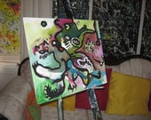 two cats abstract painting, abstract cat art on canvas board, size 16x20,pink olive blue, pink blue, blue green pink, olive green blue pink
