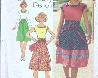 1970s - Vintage Sewing Pattern - Skirt - Pullover Top - Scarf -Hipster - Boho - DIY - 70s Fashion - Vintage Clothing - Simplicity 7573