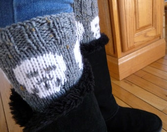 Knitted Gray Skull Boot cuffs