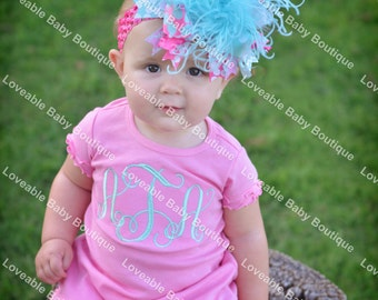 Pink and Aqua Personalized Monogrammed Initial Ruffle Dress