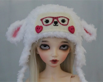 "BJD Lamb Hat for Minifee 1/4Doll Size 7"" White Sheep bjd accessories"