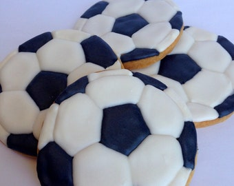 SOCCERBALL COOKIES, 12 Decorated Sugar Cookie Favors