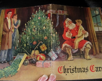 Vintage Christmas Carols Booklet With Boy on Santa's Lap, Mom and Dad, Christmas Tree
