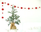 Felted Christmas Garland, Bright Red Felt Wool Ball Garland for your Christmas Tree, Rustic Holiday Decoration LARGE