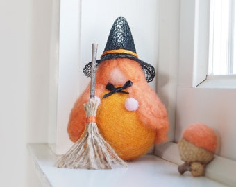 Needle Felted Witch, Halloween Toy Waldorf Gnome, Orange Pumpkin Fairy