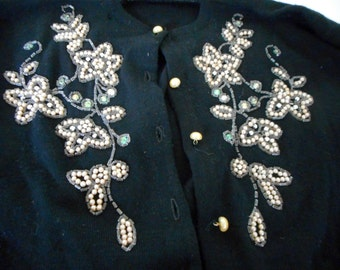 Vintage Beaded Sweater Pearls and Rhinestones Beaded Black 1950s 100% Wool Sweater Size small