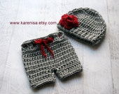 Baby Girl Hat and Diaper Cover, Crochet Baby Girl Hat and Crochet Shorts, Newborn Hat and Short Set, Baby Hat and Shorts, READY TO SHIP