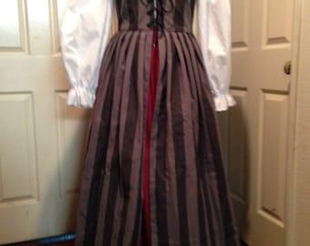 Renaissance Pirate Faire Medieval SCA Irish Celtic Dress Black/Gray Stripe