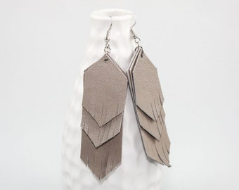 Leather Fringe Earrings - Gray