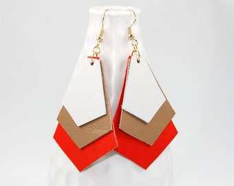 Leather Chevron Earrings - White, Tan, Orange