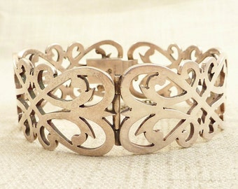 Vintage Cheo Mexican Modernist Cutout Sterling Symmetry Bracelet