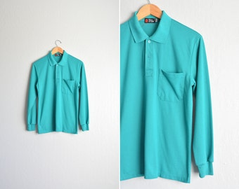 SALE / vintage men's '90s turquoise long sleeve POLO shirt / collared SWEATSHIRT. size s.
