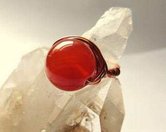 Chunky Carnelian and Copper Wire Wrap Ring, Gemstone Jewelry, Orange and Copper, Handcrafted