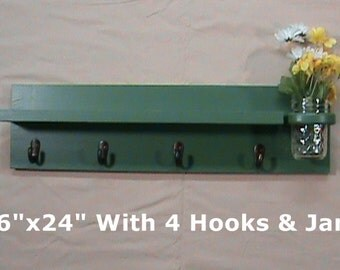 Shelf with Jar Vase and Key Hooks - Key Holder - Coat Rack - Wall Art Décor - Home Décor - Painted Shelf - Key Holder with Shelf