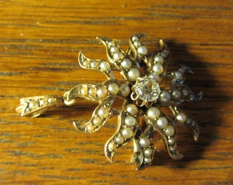 Gold Starburst with Diamond and Pearl  Brooch/Pendant  Antique 1870's Antiques Roadshow