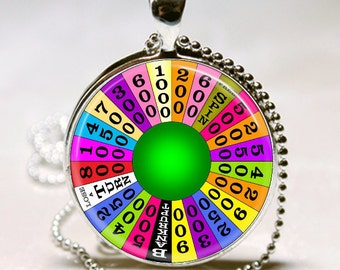 WHEEL OF FORTUNE Game Show Altered Art Glass Pendant Charm Necklace