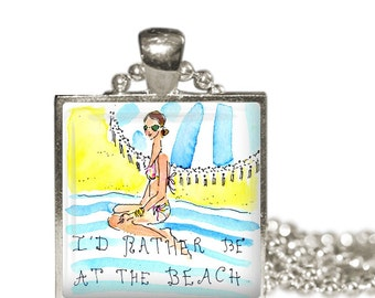 LILLY PULITZER I'd Rather Be at the Beach Fabric Print Altered Art Charm Necklace