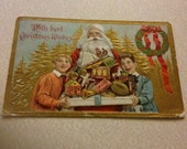 Santa and Children with Presents Antique Postcard With Best Christmas Wishes Julius Bien 1909