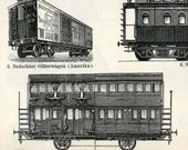 1894 Back-to-back German Antique Engraving of Railway Equipment