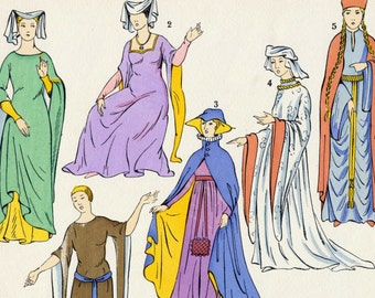 1925 French Art Deco Hand Coloured Pochoir Print on Women's Fashions in Britain. Plate 1
