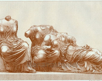 1894 Antique German Engraving of Parthenon Scupltures
