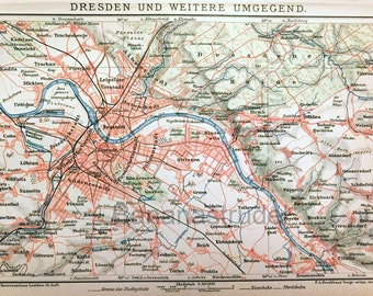 1894 Vintage Map of Dresden and Environs - Vintage City Map - Old City Map