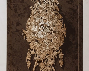 1852 Large Antique Chromolithograph of Carved Wood Flowers