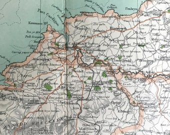 1898 Antique Map of Cardigan and Environs, the UK - Large map