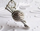 Knitting necklace, miniature ball of yarn, silver pewter charm, wool pendant, crafting, knitting needles, gift for knitter, knitting lover
