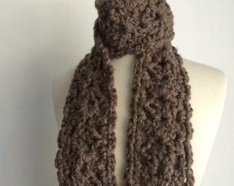 Chunky Crochet Lace Scarf Women Neck Warmer Heather Taupe