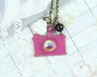 Camera Charm Necklace Photographer Jewelry Camera Gift Camera Jewelry Pink And Black Necklace