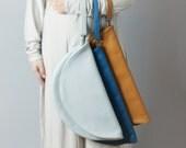 Leather clutch - circle leather purse, folded clutch, big clutch