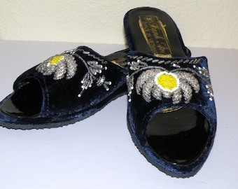 SALE Vintage Vietnam War Era Mid nite Blue Velveteen Beaded Slippers