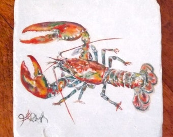 "Red Lobster Coaster, 4""x4"" Giclée on Stone, by Jennifer Jones Rashleigh at Cédian Painting"