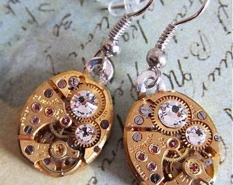 Steampunk ear gear - Ice - Steampunk Earrings - Repurposed art