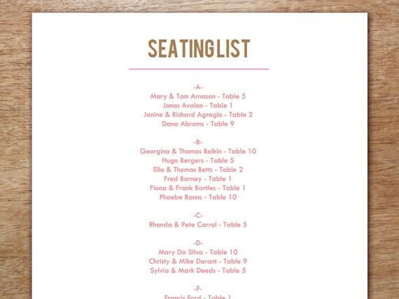 Printable Seating List - Wedding Seating List Template - Instant Download - Seating Chart PDF - Pink and Brown Text - Pink & Brown Seating