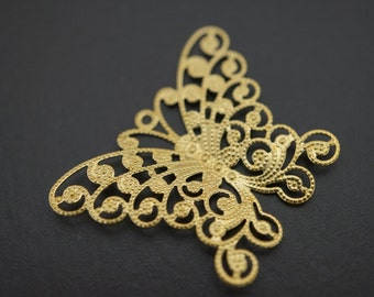 Raw Brass Monarch Butterfly Filigree Charm Pendants - 35mm x 25mm - 10 pcs